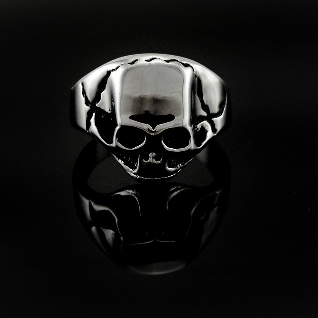 Shiny Cracked Skull Stainless Steel Ring Size 11 Rings