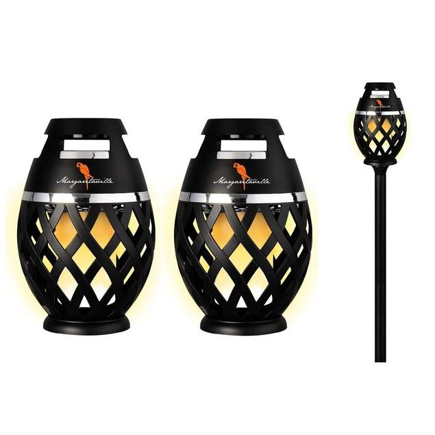 2-Pack Margaritaville Bluetooth LED Flame Tiki-Torch Speaker w/ 3-Foot Pole
