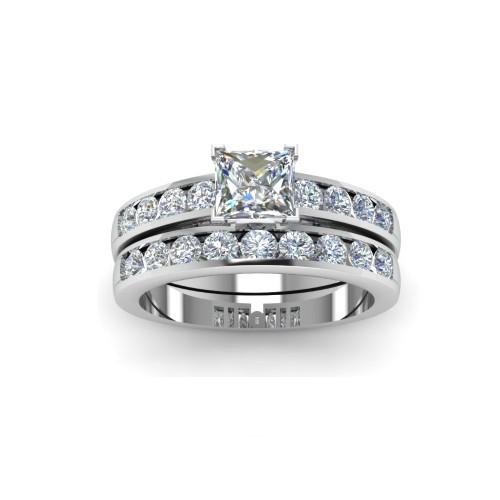0.925 Sterling Silver Princess-Cut Simulated Diamond Engagement & Wedding Band Rings Set