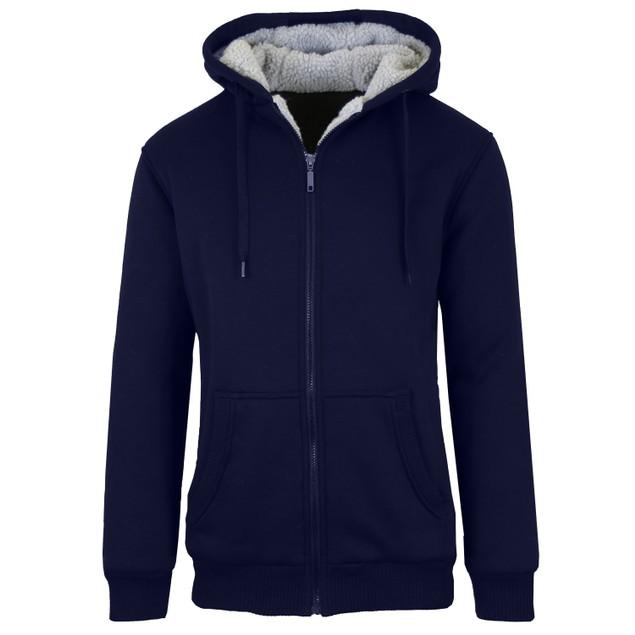 Men's Sherpa Lined Fleece Zip-Up Hoodie