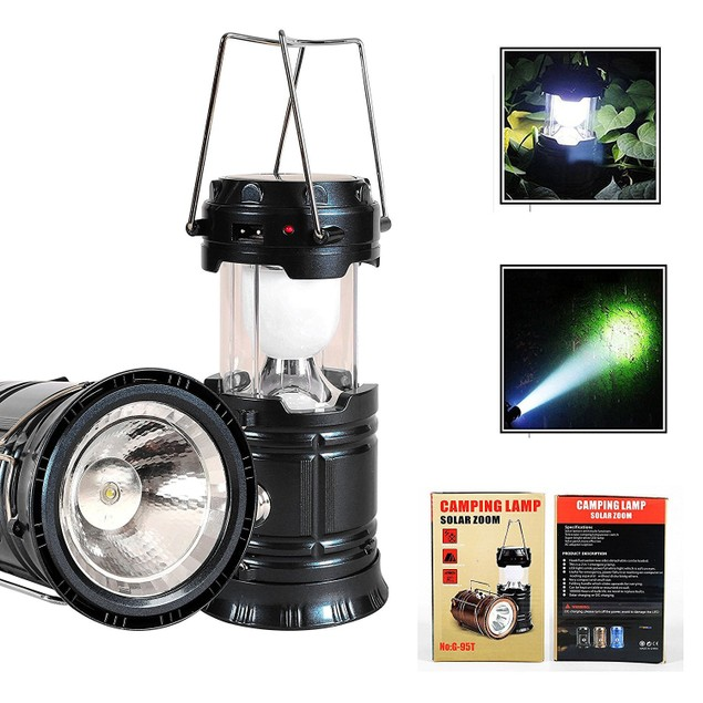 3-in-1 Rechargeable Solar Ultra Bright LED Camping Lantern/Flashlight