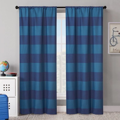 """VCNY Rugby Stripe 38""""x84"""" Foamback Blackout Curtain Panel Pair"""