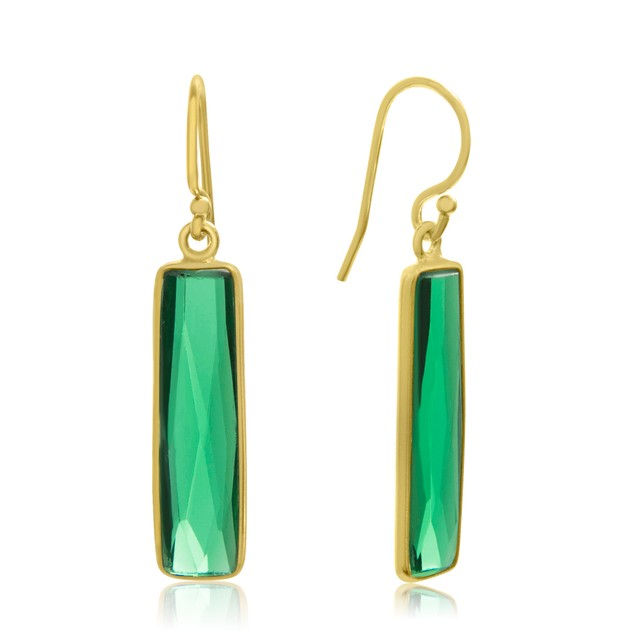 Gold Tone Sterling Silver 2 Carat Round Emerald Quartz Bar Earrings