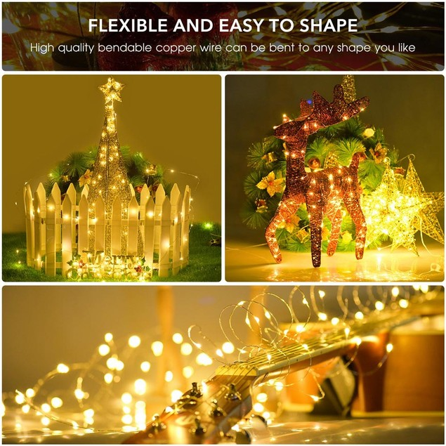 3-Pack 100 LED Outdoor String Lights For Christmas/Holiday Decorations