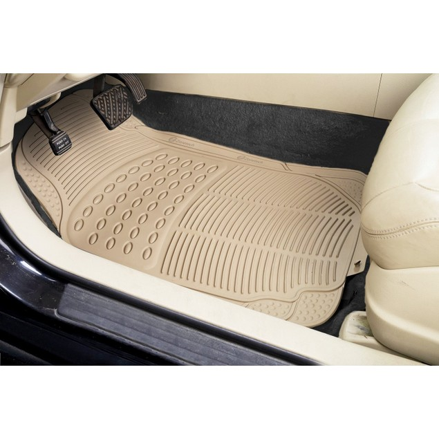 Zone Tech Set of 3 Piece Heavy Duty Car Vehicle Beige Rubber Floor Mats