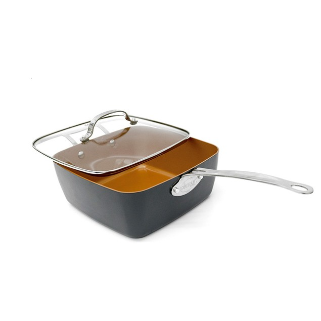 "Gotham Steel Gotham Steel Nonstick 11"" 4-Piece Deep Square Pan Set Copper"