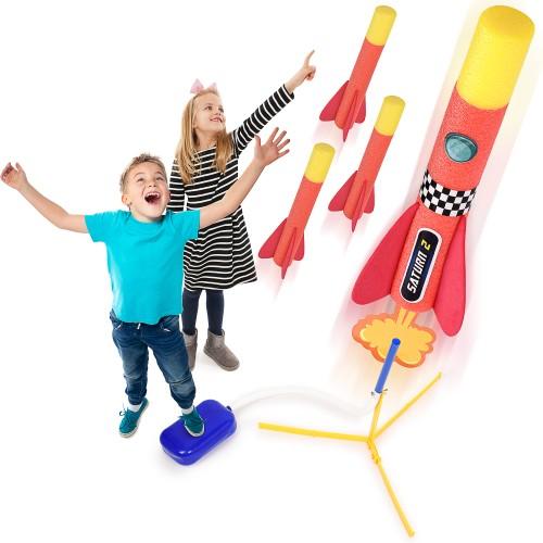 Toy Rocket Launcher for Kids w/ 4 Foam Rockets & Launch Stand