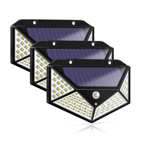 3-Pack 100-LED Solar Powered Motion Sensor Lights w/ 3 Mode 270° Wide Angle