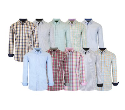 Men's Slim Fitting Long Sleeve Printed Stretch Dress Shirts Was: $58 Now: $13.99.