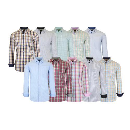 Men's Slim Fitting Long Sleeve Printed Stretch Dress Shirts
