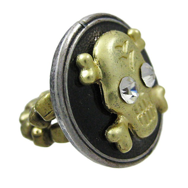 Pewter And Gold Skull And Crossbones Stretch Ring Womens Rings