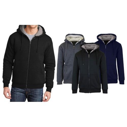 2-Pack Men's Sherpa Lined Fleece Zip-Up Hoodie (2-Pack)