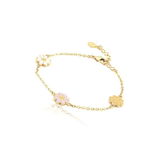 "18KGP Pink, Yellow & White Enameled Daisy Children's Bracelets (5""+ 2""Extention)"