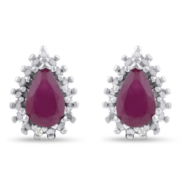 Pear Shape Ruby and Diamond Halo Stud Earrings