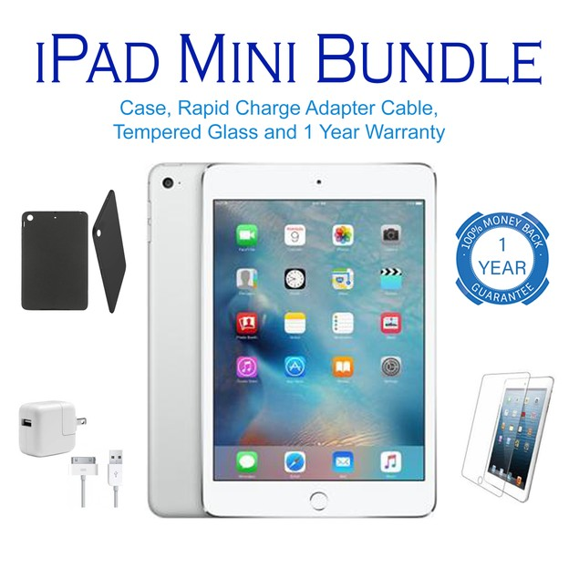 Apple iPad Mini Wifi Bundle 16GB-64GB (Charger, Case, Screen, Stylus)