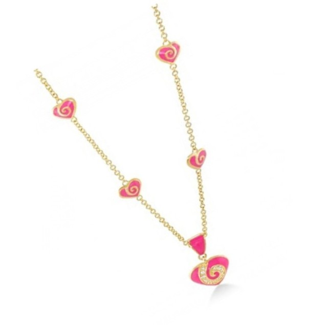 """18K Gold Plated Hot-Pink Enamel C.Z Hearts Children's Necklace- (14"""" + 2"""" Extention)"""