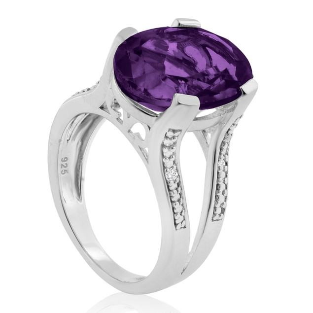 5 1/2ct Oval Shape Amethyst and Diamond Ring