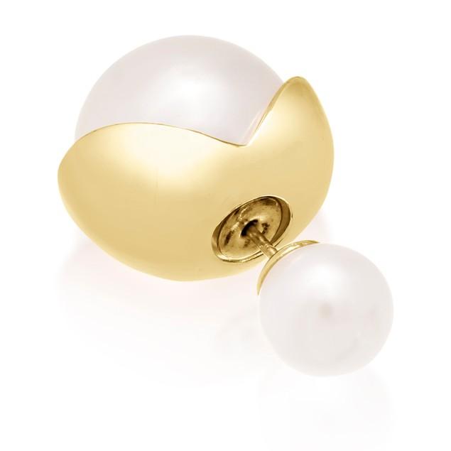 Double-Sided Imitation Pearl Stud Flower Petal Earrings