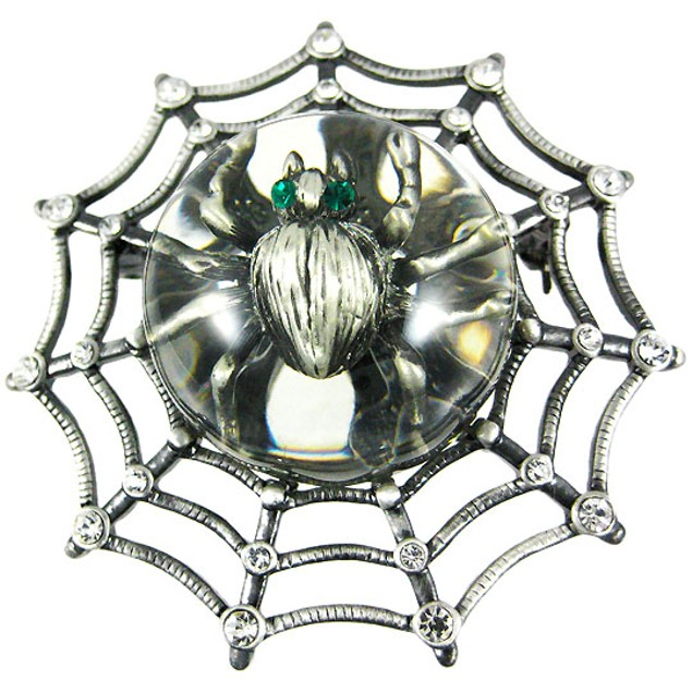Rhinestone Accented Spider Web & Spider Brooch Pin Womens Brooches And Pins