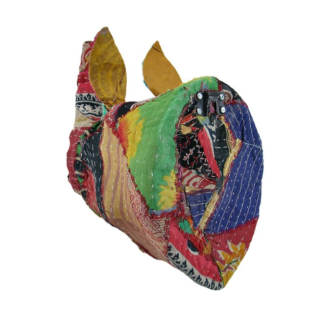 Recycled 12 Inch Fabric Covered Rhinoceros Head Wall Sculptures