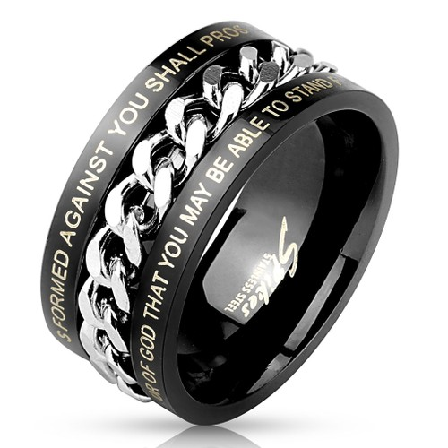 Men's Black Steel Center Chain Spinner Ring with Bible Verses