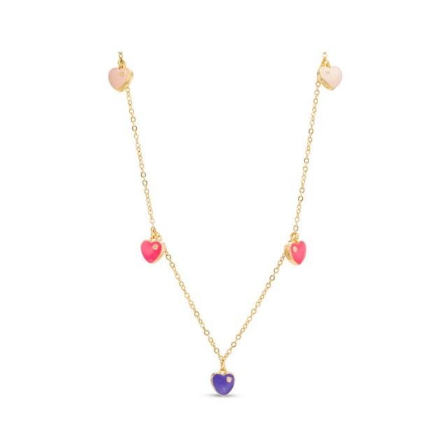 "18KGP Multi Colored Enameled Hearts & Cubic Zirconia Children's Necklace-(14"" + 2"" Extention)"