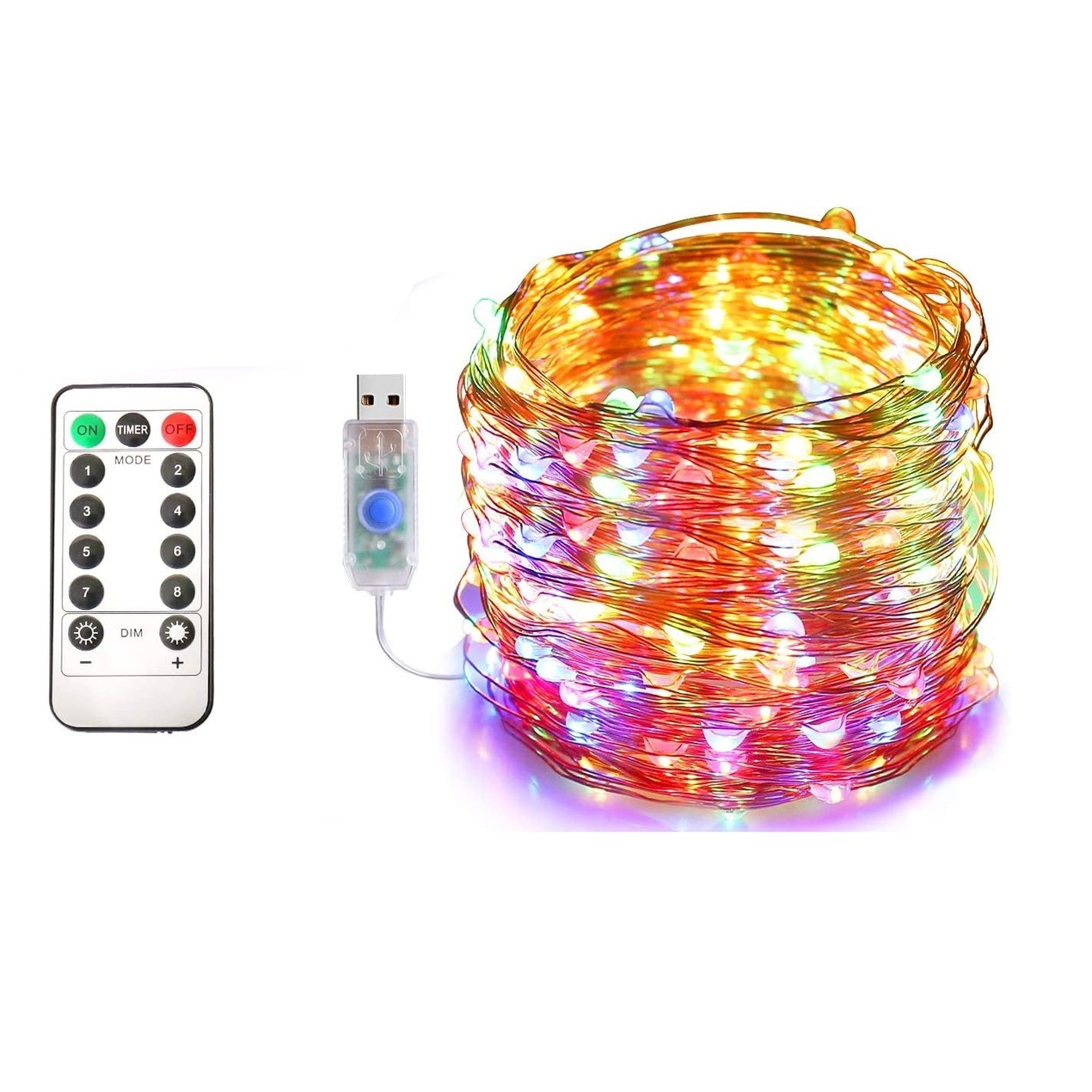 40ft USB Waterproof Remote Control LED Christmas String Lights
