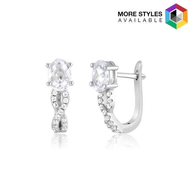 Infinity Sterling Silver Cubic Zirconia Huggie Earrings