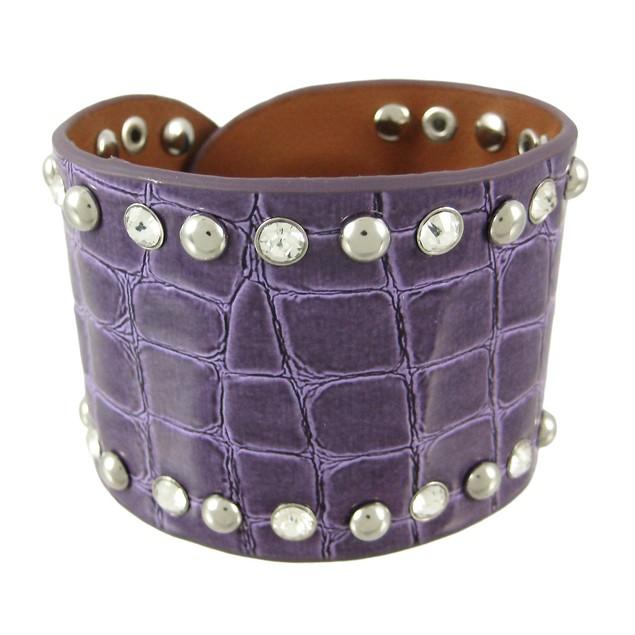Glossy Purple Studded Rhinestone Mock Croc Womens Cuff Bracelets