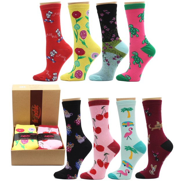 8-Pairs: Frenchic Fun Women's Crew Socks with Gift Box