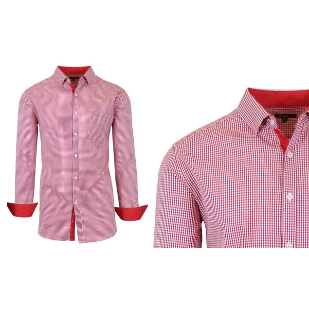 Men's Long Sleeve Slim-Fit Gingham Dress Shirt