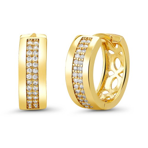 18kt Yellow Fancy Goldtone Cubic zirconia  Huggie Earrings