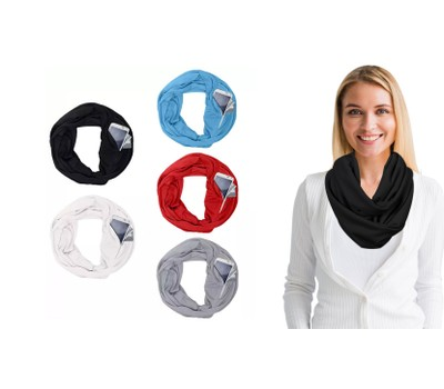 Women Lightweight Infinity Scarf With Pocket Loop Zipper Was: $19.99 Now: $10.99.