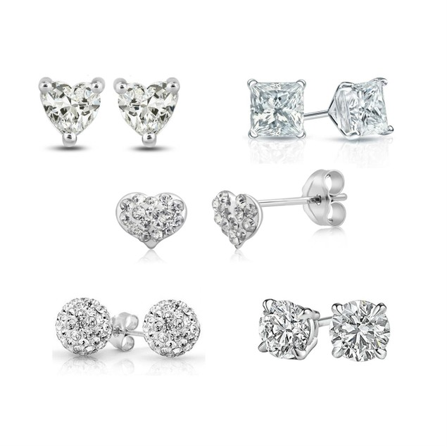 5 Pairs of Sterling Silver Crystal Stud Earrings