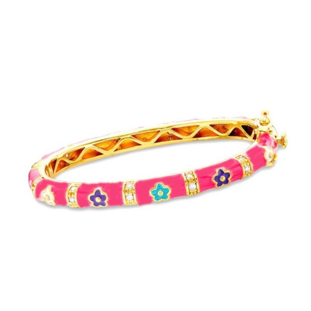 18KGP Hot-Pink Enameled Daisy Flowers W/C.Z Chidren's Bangle Bracelets