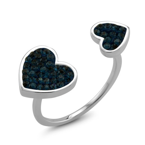 Crystal Double Heart Sapphire Ring