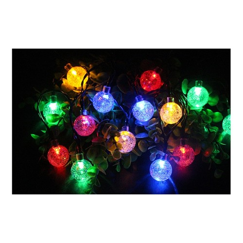 Solar String Lights 20 LED 16Ft Outdoor Colored Waterproof Crystal Ball Lights