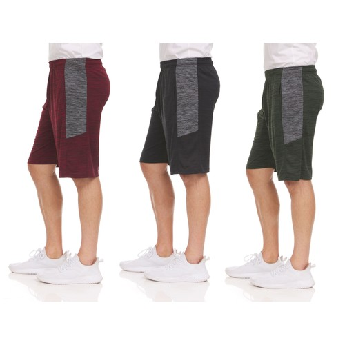 3 Pack : Men's Dry-Fit Sweat Resistant Active Athletic Shorts (Sizes up to 3X)