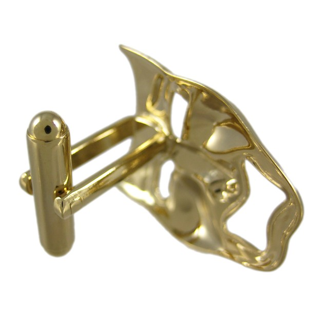 Gold Plated Comedy / Tragedy Mask Cufflinks Acting Mens Cuff Links