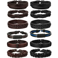 6 Pack Braided Leather Bracelet Set for Men- 2 Colors