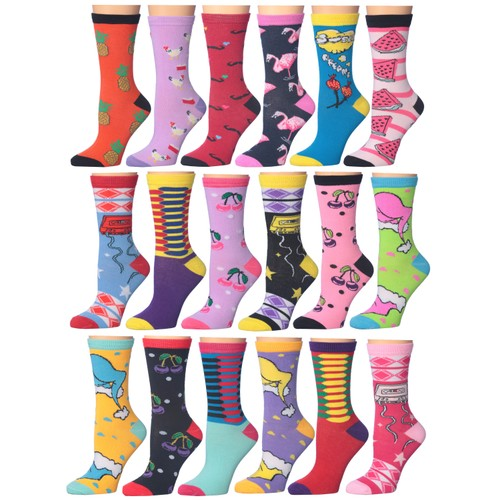 18-Pairs: Frenchic Fun Printed Cotton-Blend Crew Socks