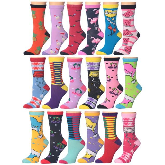 18-Pairs: Frenchic Fun Printed Cotton-Blend Crew Socks