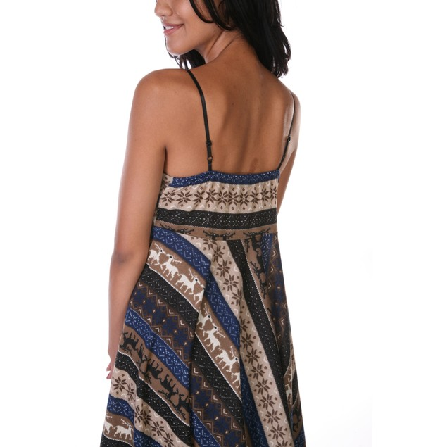 White Mark High Low Hem Dress - Brown with Navy