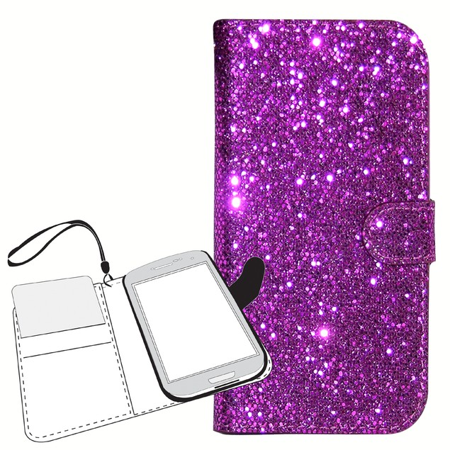Glitter Wallet Folio Case for Samsung Galaxy