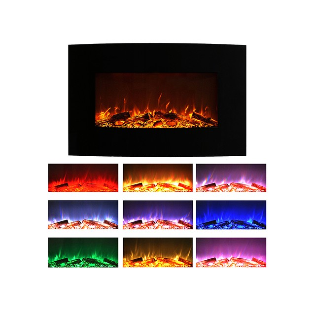 "Northwest 36"" Curved Color Changing Fireplace Wall Mount Floor Stand"
