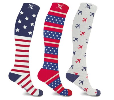 Patriotic Compression Socks (3-Pairs) Was: $19.99 Now: $12.99.