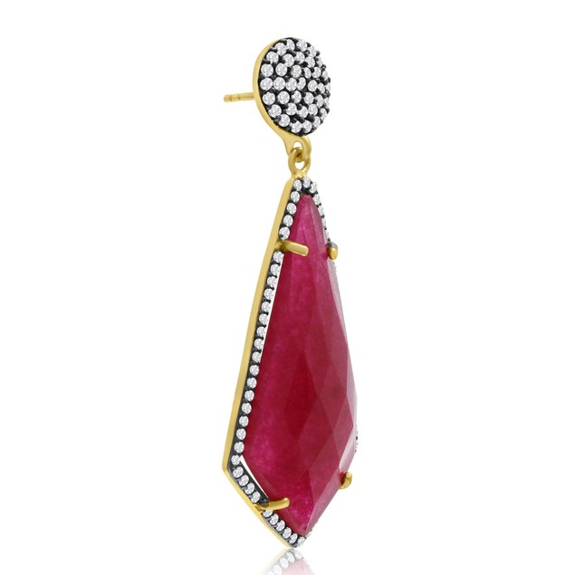 14k Yellow Gold 45 Carat Ruby and CZ Dangle Earrings