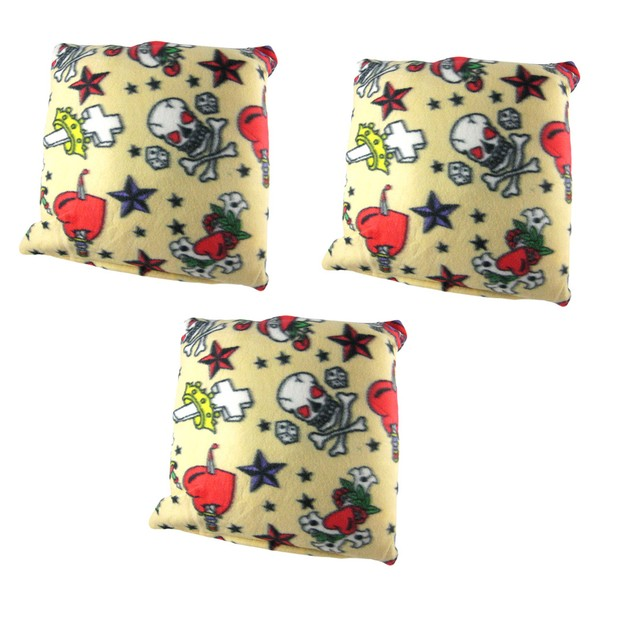 Set Of 3 Tattoo Print Fleece Decorative Throw Throw Pillows