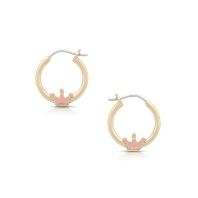 18K Gold Plated Light Pink Enamel Crown Children's Hoop Earrings