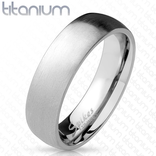 Solid Titanium Classic Dome Ring - Two Tone Finish